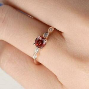Engagement 1.50ct 925 Silver Rose Gold Plated Round Garnet Anniversary Ring