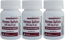 Ferrous Sulfate Iron 325 mg Generic for Feosol 100 Tablets per Bottle Pack of 3