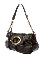 D&G Dolce & Gabbana Luxury Brown EEL Leather Fashion Shoulder Hand Bag Authentic