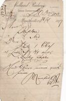 MIDLAND RAILWAY Manchester 1899 Goods Dept Charges Invoice Quick Letter Rf 44872