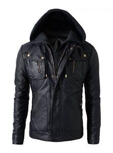 New Men's Motorcycle Brando Style Biker Real Soft Black Leather Hoodie Jacket