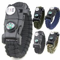 Survival Paracord Bracelet Flint Fire Starter Compass Whistle LED Light Gear Kit