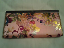 pink colour silky envelop shape wallet or purse shiny flower zip pocket and clip