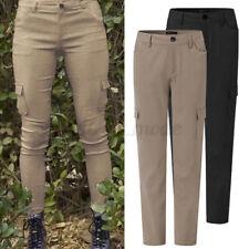 Simple Femme Coupe Slim Pantalons Long Couleur Unie Bouton Décontracté Plus