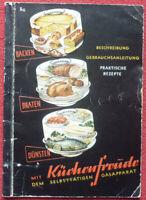 """KÜCHENFREUDE """"PRAKTISCHE REZEPTE"""" um 1955 auf 42 Seiten mit Werbung Moccadur"""