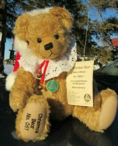 "VINTAGE TEDDY BEAR HERMANN CHRISTMAS SANTA 14"" MOHAIR RED HAT BELL W TAG GERMANY"