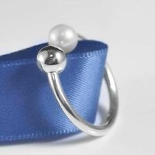 Contemporary Pearl Ring 925 Solid Sterling Silver Balls Round Beaded Size 58 8.5