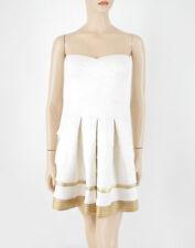 Alythea Full Skirt Tube Dress in Ivory & Gold Strapless XS $98 8849 BM9