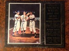 Autographed Mickey Mantle, Willie Mays & Duke Snider Plaque w/ COA