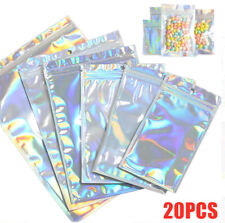 20Pcs Clear Holographic Laser Zipper Seal Bags Eyelashes Package Storage Pouches