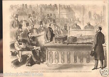 London House of Commons Parliament Gladstone Lord Palmerston GRAVURE PRINT 1866