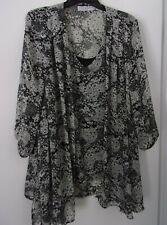 Sag Harbor Black-White Blouse w/Attached Camisole Top 1X Excellent Condition