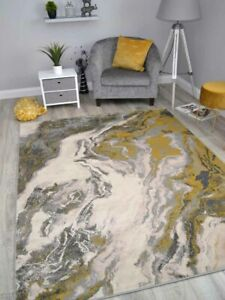Gold Marble Effect Rugs Modern Abstract Small Extra Large Soft Floor Carpets Mat