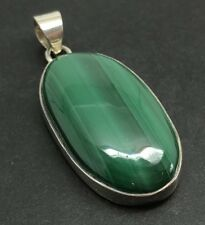 Malachite Oval pendant, Solid Sterling Silver, Actual One. New.
