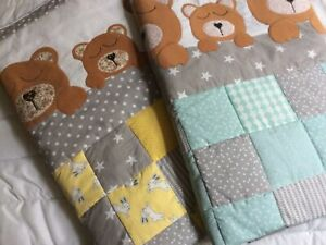 handmade patchwork and appliqué baby quilt