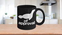 Seal of Approval Mug Black Animal Coffee Cup Funny Gift for Teacher Professor