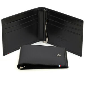 NEW Dupont Line D Leather Note Clip 6 Credit Card Slots Black