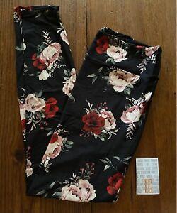 NEW RELEASE Lularoe Leggings TC Tall & Curvy Beautiful Dark Rose Print