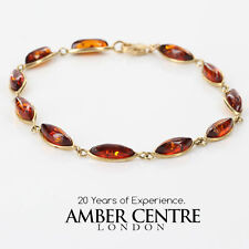 ITALIAN MADE  BALTIC AMBER BRACELET IN 9CT GOLD -GBR033 RRP£350!!!