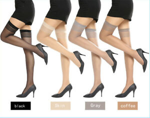 Women Ladies Ultrathin Sheer Long Sock Fishnet Thigh High Silk Stockings Hold Up