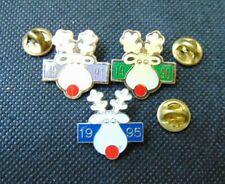 3 X Operation Nez Rouge Noel Christmas 1990 1991 1995 Pin Lapel épingle