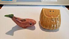 Vintage Go With Salt Pepper Shaker Set Trout Fish Creel Basket Set