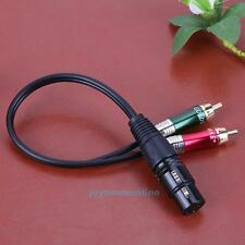 3 Pin XLR Female to 2 RCA Male Cable Audio Adapter Cable Metal Connector New