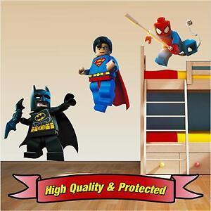Lego Superhero Set - Superman Spiderman Batman Wall Stickers Decal Childrens Boy