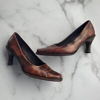 Bolo Women's Shoes Brown Burgundy Slip On Italian Leather Pumps Heels Size 8.5