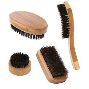 Men Natural Boar Bristle Beard Brush Mustache Facial Cleaning Wood Handle Comb
