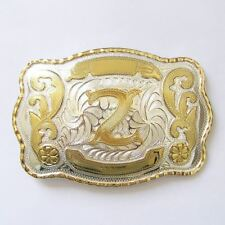 "Initial ""Z"" Letter Large Gold & Silver Rodeo Western Cowboy Metal Belt Buckle"