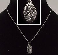 "New 16"" to 24"" Silver Plated Oval St Saint Christopher Pendant Necklace Chain"