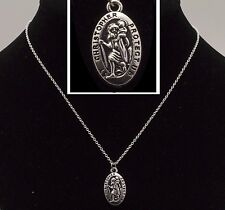"16"" to 24"" Silver Plated Oval St Christopher Pendant Mens Womens Necklace Chain"