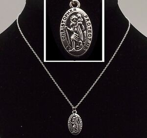 """16"""" to 24"""" Silver Plated Oval St Christopher Pendant Mens Womens Necklace Chain"""