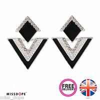 NEW BLACK TRIANGLE SILVER CRYSTAL EARRINGS STUD PLATED JEWELRY WOMENS LADIES UK