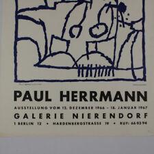 Paul Herrmann Original Holzschnitt 1966 Ausstellungsplakat Galerie