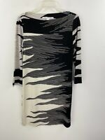 Diane Von Furstenberg Silk Dress 10 Black White Boatneck 3/4 Sleeve B13-02