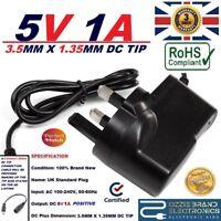 UK 5V 1A AC/DC POWER SUPPLY ADAPTER PLUG 3.5MMX1.35MM 3.5X1.35 3.5MM-1.35MM TIP