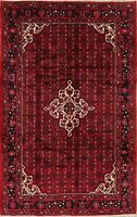 7'x10' Geometric Hamadan Oriental Area Rug Hand-Knotted Wool Traditional Carpet