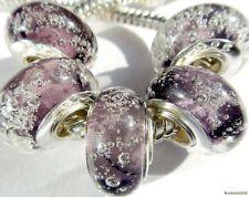 5PCS Silver Single Core Murano Lamp Glass Beads fit European Charm Bracelet A092