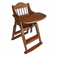 Safetots Folding Multi-Height Wooden High Chair Baby Feeding Dark Wood Highchair