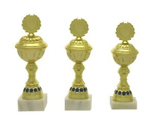 3er Serie Pokale 590 Gold/Blau mit Höhe 24,0-22,0 cm inkl.Gravur nur 25,50 EUR
