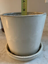 Cream Off White Sleek Modern Heavy Ceramic Flower Pot Planter Attached Saucer