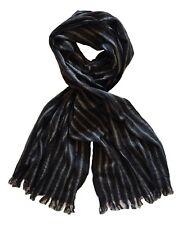 John Varvatos Star USA Men's Cable Stripe Fashion Scarf Merino Wool Black Red