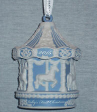 Wedgwood Baby'S 1st Christmas Carousel Blue Ornament 2015 New In Box