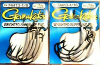Gamakatsu Weighted Superline EWG 3/0 Fishing Hooks- Choice of Size (One Package)