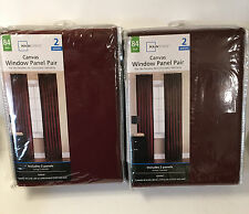 """Mainstays Garnet Red Canvas Curtain Panel Pair 2-40/84"""" Unlined Traditional"""