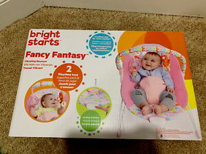 Bright Starts Fanciful Flowers Bouncer Pretty in Pink Vibrating Bouncer Toy Bar