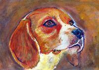 Beagle Dog Art Print, Tri-colour Gift Artist Signed Print from Original Art gift