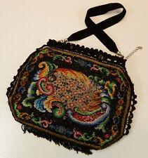 Perlenbeutel TäschchenPerlenstickerei schwarz bunte Ornamente 15cm x 18,5cm